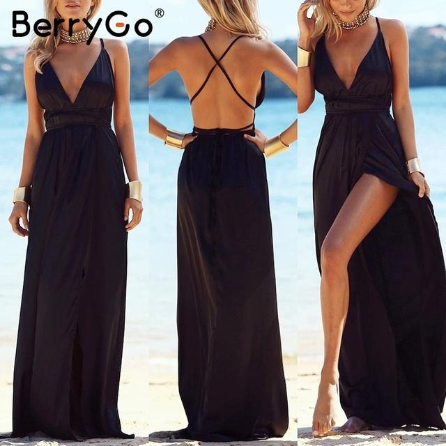 Elegant backless satin long dress Women casual evening summer dress Party sexy black red beach maxi dresses vestidos
