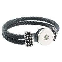 Heißer Verkauf Snap Armband Mode DIY Charms Schwarz PU Leder Armband & Armreifen Fit 18mm Snap Tasten Silber Schmuck für Frauen ZE060