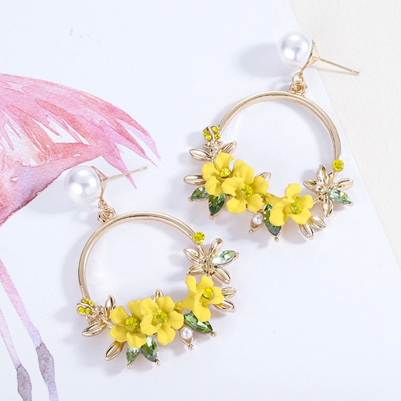 MISANANRYNE <font><b>Trendy</b></font> <font><b>Cute</b></font> <font><b>Pink</b></font> <font><b>Flower</b></font> <font><b>Earrings</b></font> <font><b>For</b></font> <font><b>Women</b></font> Girls Jewelry Female Rhinestone Gold Metal Round Circle Drop <font><b>Earrings</b></font> image