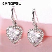 Luxury Heart-Shaped Zircon Stud Earrings For Women New Fashion Elegant Silver Plated