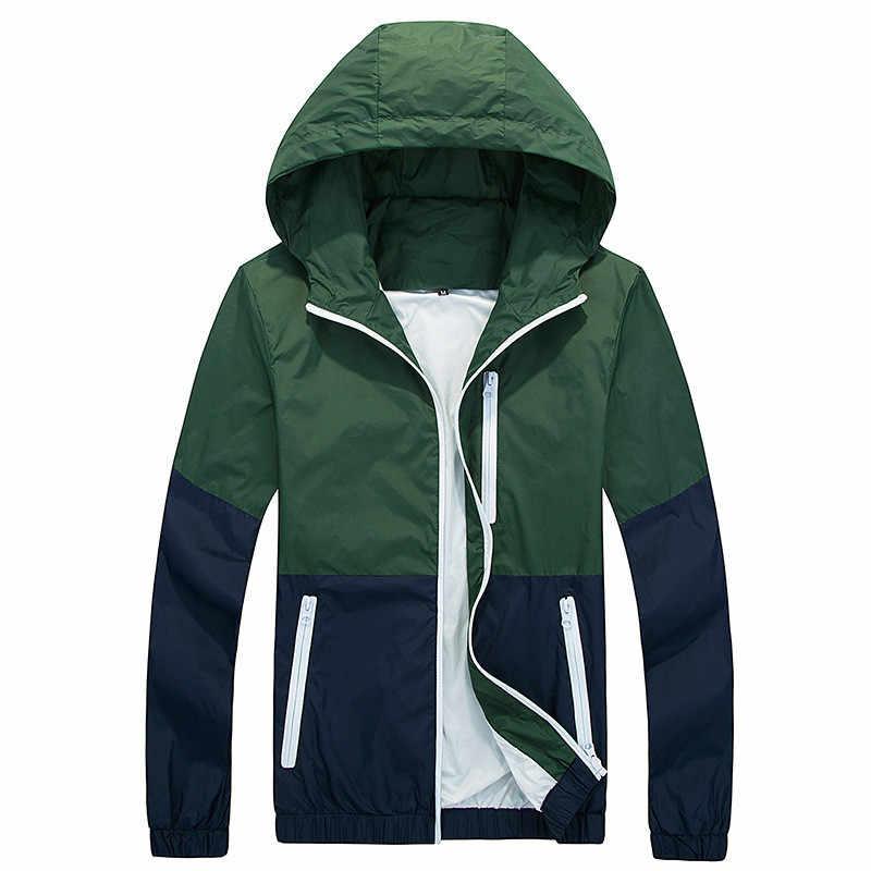 Riinr новая куртка мужская ветровка осенне-Весенняя модная куртка мужская повседневная куртка с капюшоном Мужское пальто тонкая мужская куртка Верхняя одежда пара