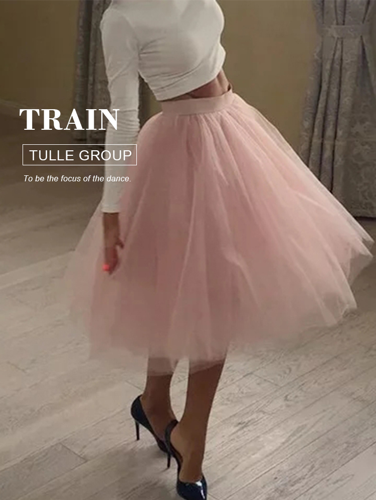 5 Layers 60cm Midi Tulle Skirt Princess Womens Adult Tutu Fashion Clothing Faldas Saia Femininas Jupe Summer Style 1