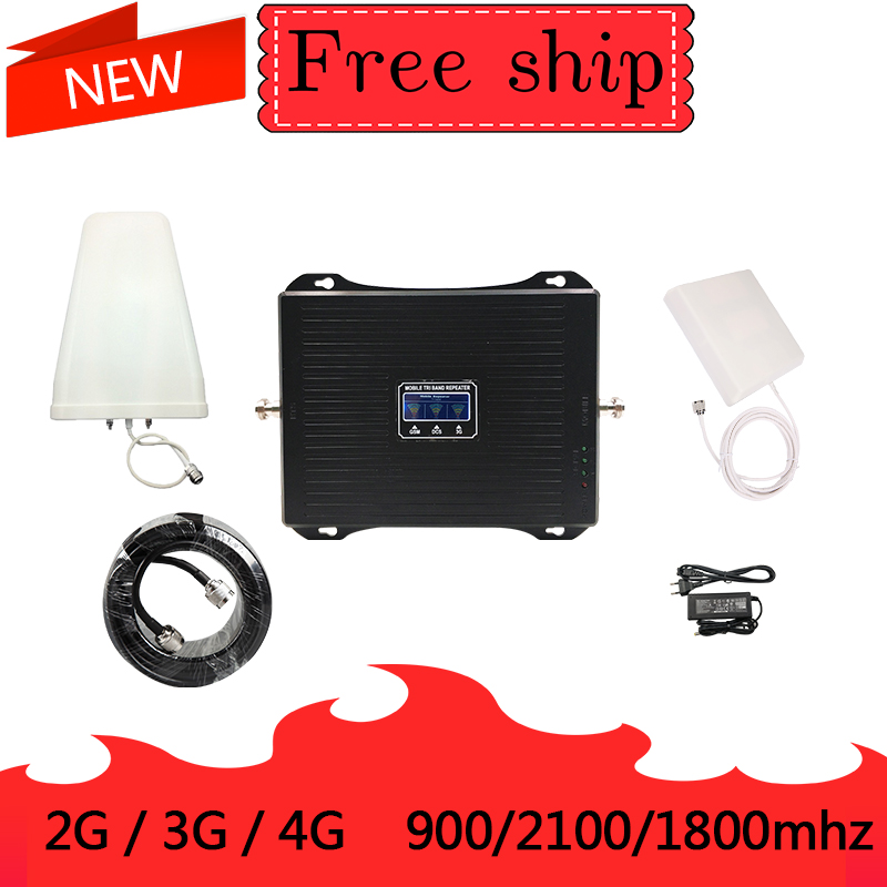 2G 3G 4G Triple band Cell Phone Signal Booster 70dB GSM 900 LTE 1800 WCDMA 2100mhz 30dBm Mobile Cellular Signal Repeater2G 3G 4G Triple band Cell Phone Signal Booster 70dB GSM 900 LTE 1800 WCDMA 2100mhz 30dBm Mobile Cellular Signal Repeater