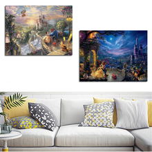 Beauty And The Beast By Thomas Kinkade Canvas Painting Print Living Room Artwork Home Decoration Modern Wall Art Poster