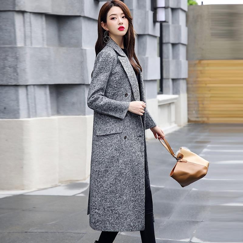 Abrigo de lana para mujer 2018 Otoño e Invierno moda chaqueta de lana talla grande blazer largo ajustado mujer gabardina tops IOQRCJV H368-in Lana y mezclas from Ropa de mujer    3