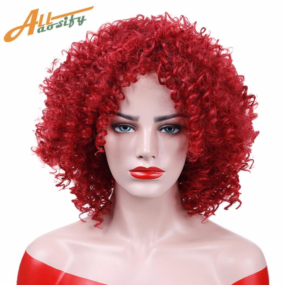 Allaosify Cut Hair Style Syntetisk Bourgogne Rød Krøllet Paryk Afro Kinky Krøllete Parykker til-7070
