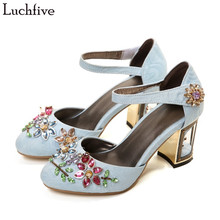 Velvet Women Pumps colorful crystal flower Studded birds cage High Heels  Mary Janes rhinestone Wedding Shoes fd7c5751b93d