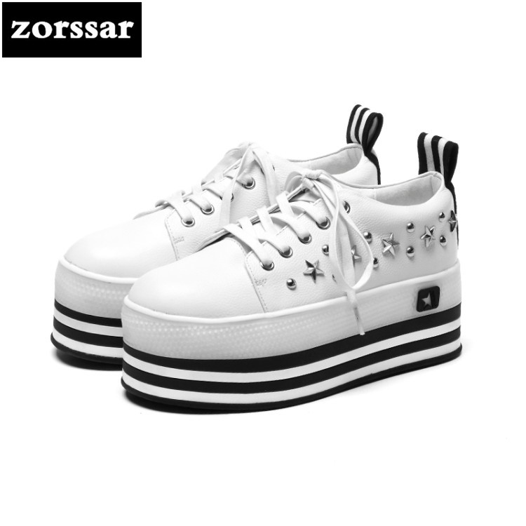 {Zorssar} Brand 2018 New Spring Autumn fashion Women sneakers Casual Flats Loafers Lace up female platform Creepers shoes