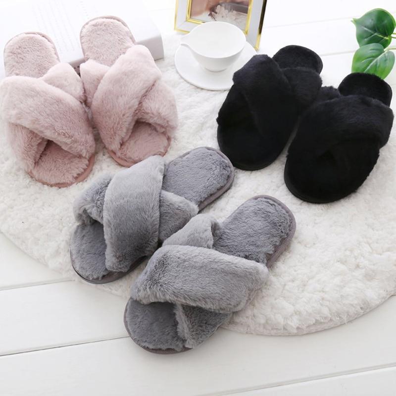 все цены на Fur Slipper Winter Women Soft Cotton Home Indoor Slippers Ladies Slip on Shoes Fashion Platform Casual House Slipper QVT32