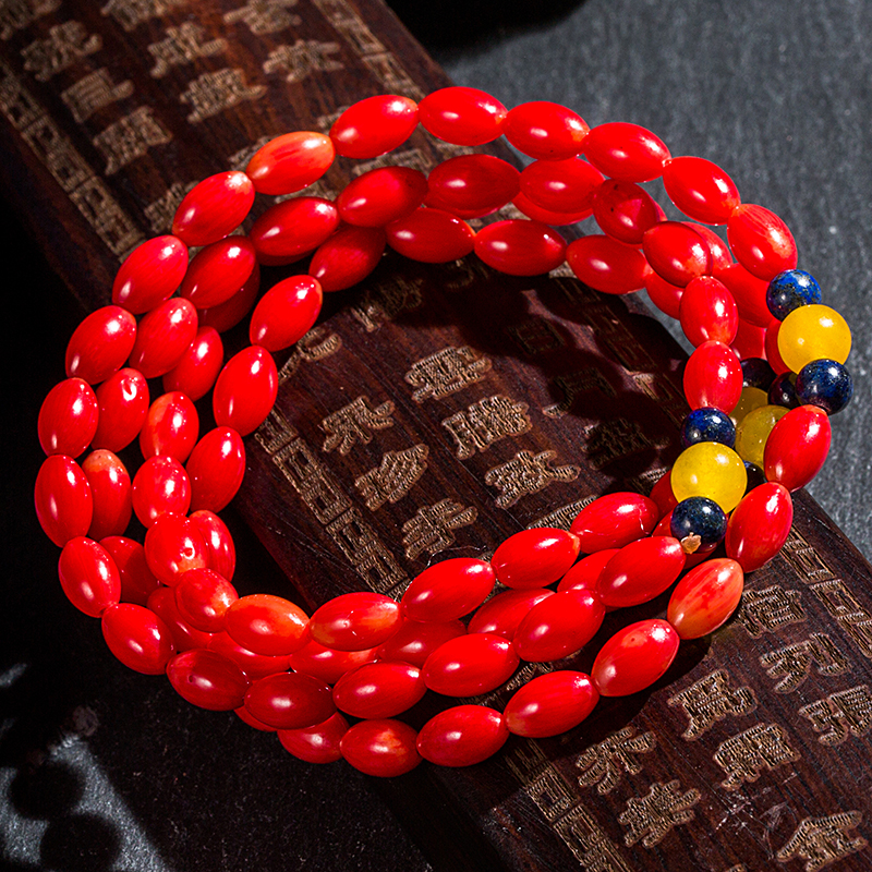 shuangsheng Natural Red Coral Bracelet 7mm Coral Beads Natural Stone Multilayer Bracelet Advanced Custom Jewelry for Women