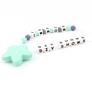 Image 5 - 100pc Alphabet Silikon Kauen Perlen Für Zahnen Halskette Food Grade BPA FREI Brief DIY Baby Name Baby Beißring