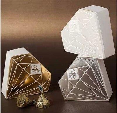 100pcs Paper Wedding Favors Candy Boxes Diamond Shape