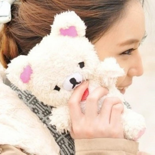 fa3c4cde30ad Cute 3D Teddy Bear Doll Toy Plush Warm Winter Cell Phone Case For Iphone 7  7 plus cell Phones Doll Bear Phone Cases Kid s Gift-in Fitted Cases from ...