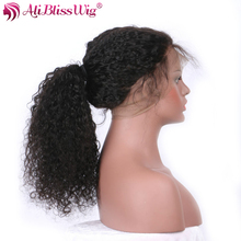 AliBlissWig 360 Lace Frontal Wig Curly Natural Color Brazilian Remy Human Hair Wigs With Baby Hair 150 Density Medium Cap