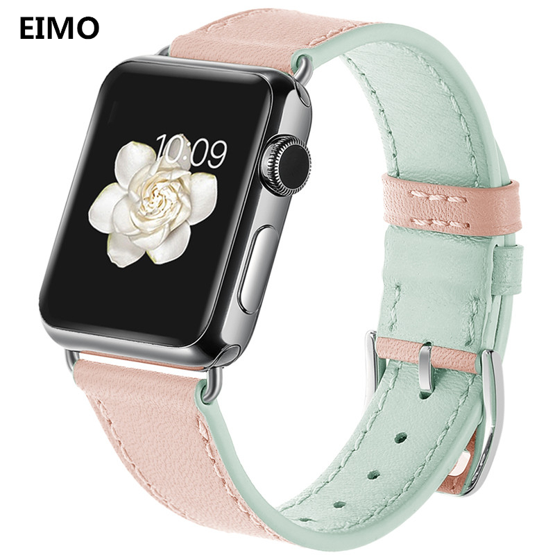 EIMO Fashion Women's Watch bands For Apple Watch band 42mm38mm iWatch series 3 2 1 Leather Strap Metal Buckle Replacement Straps цена
