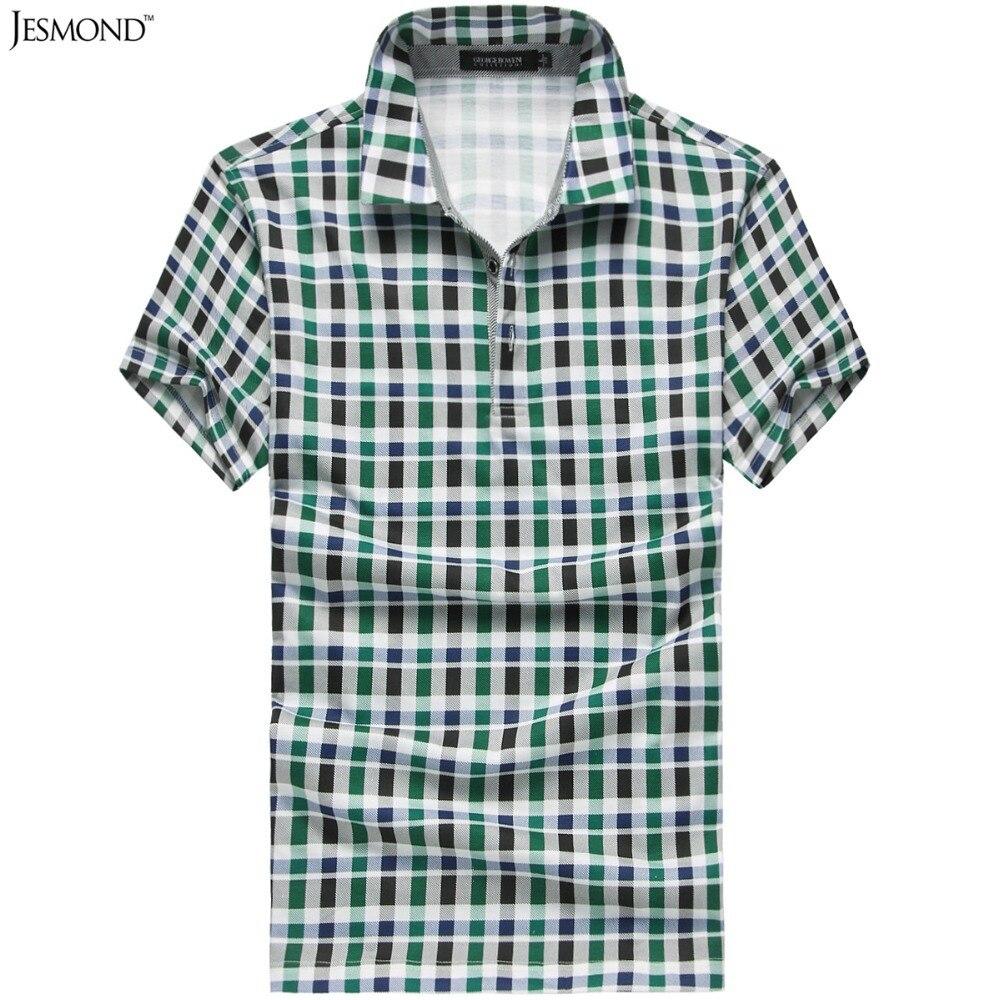 2015 Slim Fit Scottish Plaid Polo Shirt Men Business Short Sleeve