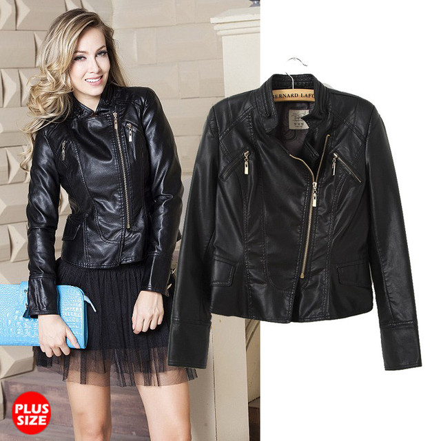 4686a657d671 Women Leather Jacket With Bulk Classic Black Girls Motorcycle Biker Coat  2015 Fashion New plus size Free Shipping
