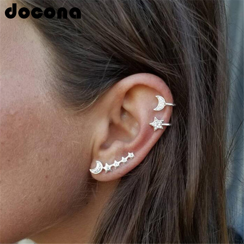 Docona 2Style Fashion Boho Crystal Moon Climbing Stud Earrings Sets for Women Pendientes Piercing Earring Gold Brincos Femme