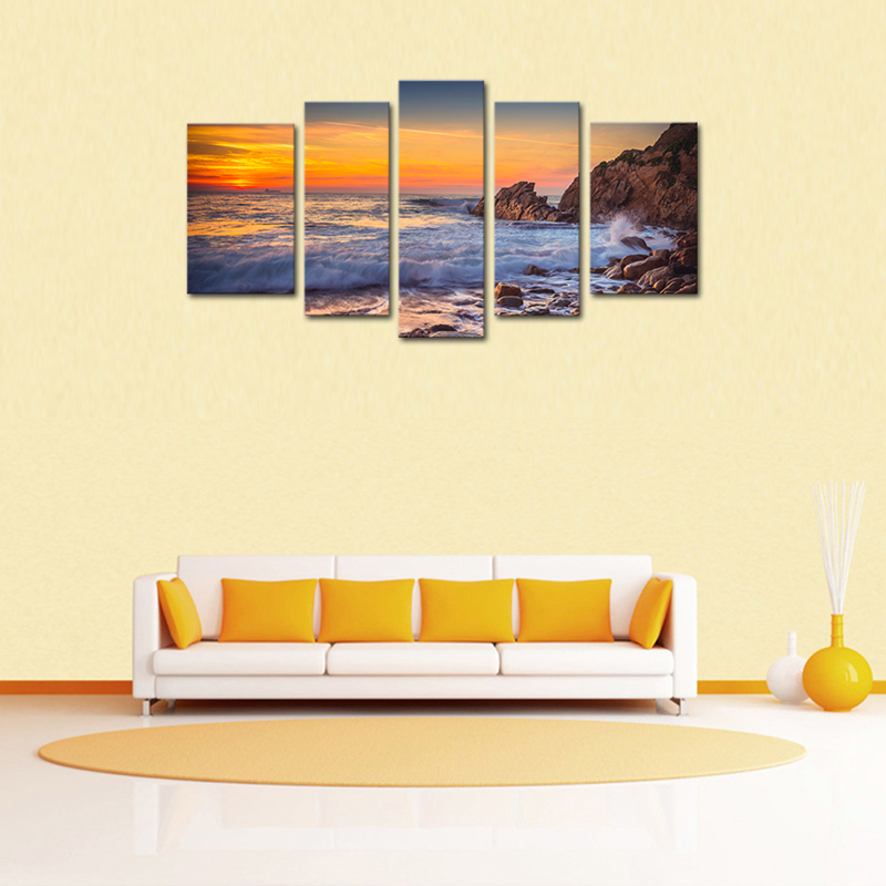 5 Pieces Canvas Paintings Seascape Wall Art Golden beautiful Sea ...