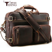 Man Genuine Leather Big Travel Large Capability 16