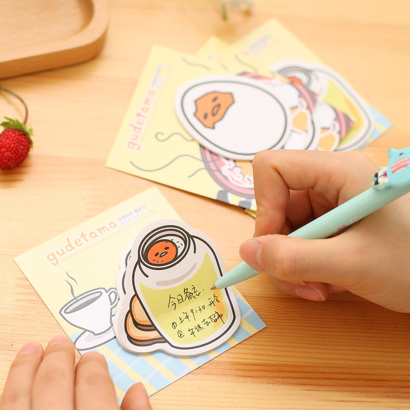3Pcs Logo Cute Kawaii Gudetama Stickers Memo Pad Egg Stationery Store Post it Sticky Note Paper Notepad Diary Item Papeleria Kit