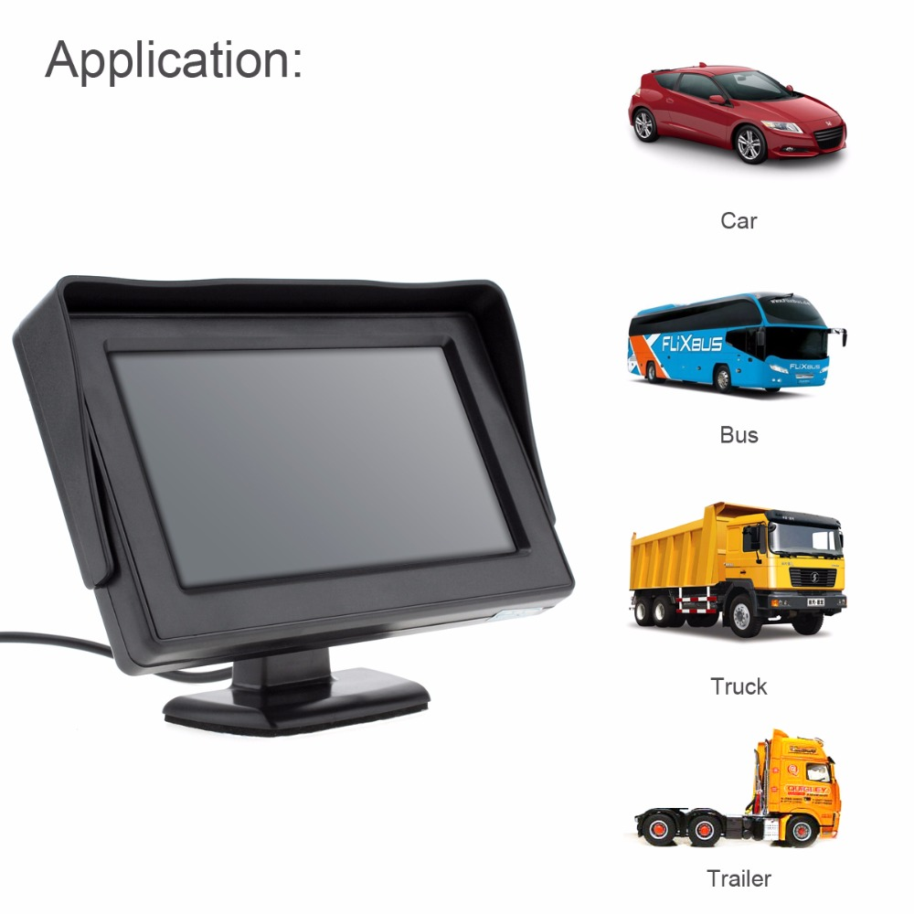 4.3 Inch DC 6-32V HD 480 x 234 Resolution 2-Channel Video Input TFT-LCD Car Monitor for Rear View Camera  DVD  VCD