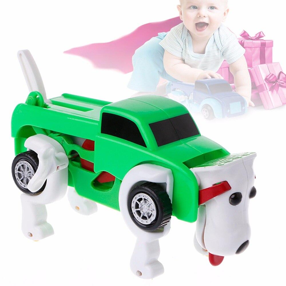 Cool Automatic Transform Dog Car Vehicle Clockwork Funny Toy Kids Gift Deformation Dog