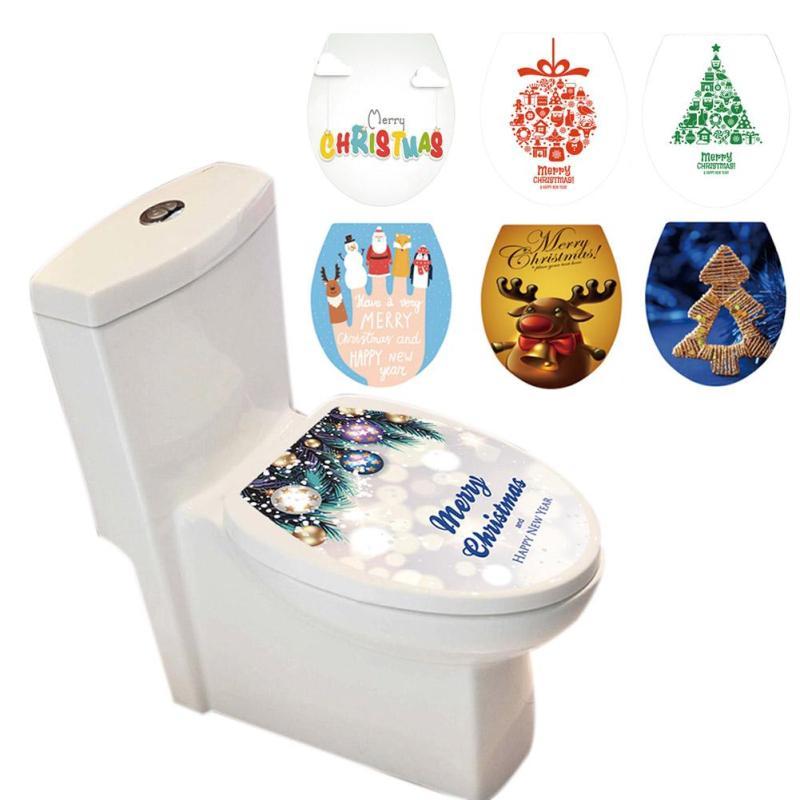 1 шт. Творческий Рождество туалетной Стикеры s Xmas Home декоративные настенные Стикеры s крышку унитаза Стикеры Diy самоклеющиеся наклейки v3