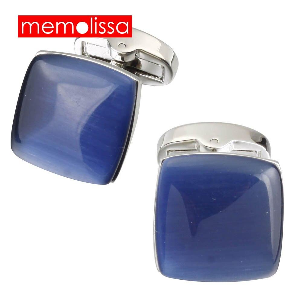 Memolissa рубашка Запонки мужские глубокий голубой цвет опал Дизайн Бизнес Свадебная вечеринка костюм аксессуары запонки оптом