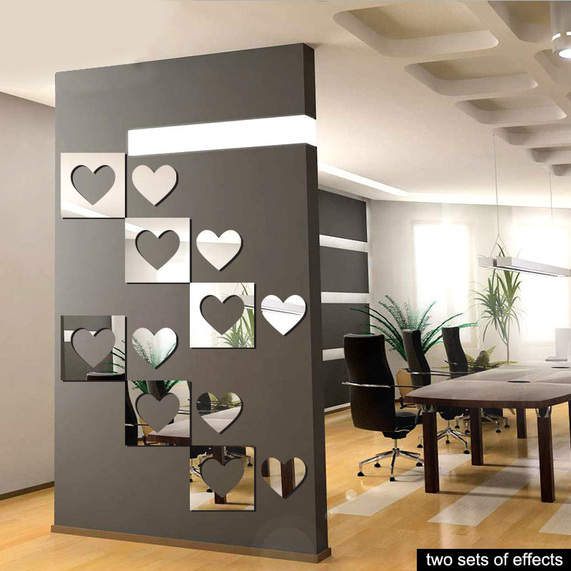 [Fundecor] new design 3d acrylic love mirror decoration Wall Sticker living room bedroom wall decal diy home decor