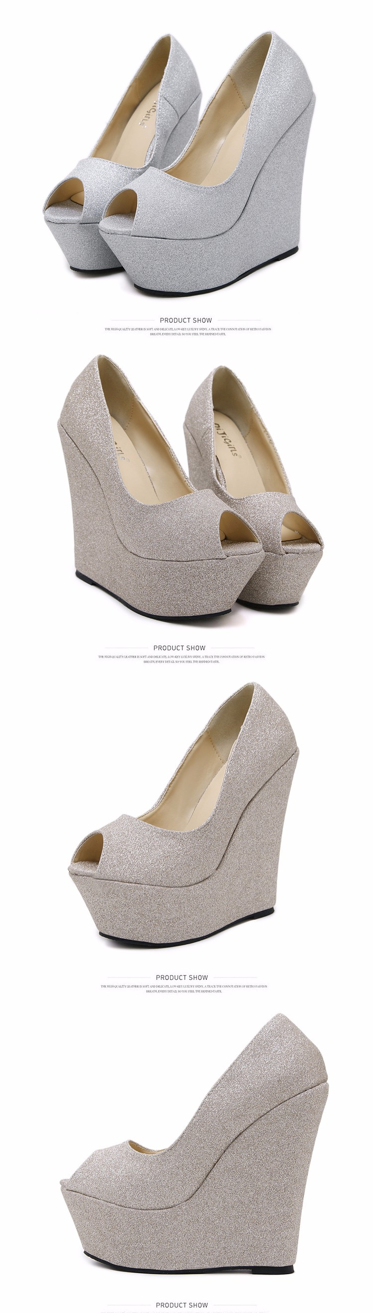 glitter shoes Platform shoes High Heels gold silver wedding Shoes peep toe High Heels Pumps Platform shoes Wedges pumps D925 4
