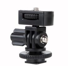 1/4 Parafuso Hot Shoe Adaptador de Montagem do Pólo Ângulo Ajustável Para DSLR Camera LED Flash Luz Do Monitor