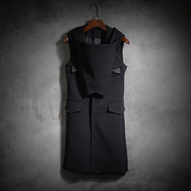 2016 autumn men hooded sleeveless jacket men fashion long suit vest coat thick high quality slim vest jacket stage costumes