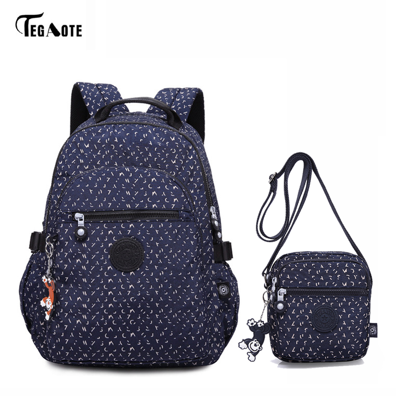 TEGAOTE Classic School Bags for Teenage Girls 2pcs Bag Set Women Backpacks Students Book Bags Crossbody Satchel Rucksack Moclila tegaote new design women backpack bags fashion mini bag with monkey chain nylon school bag for teenage girls women shoulder bags