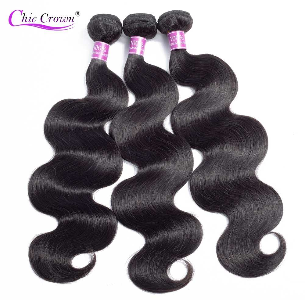 Brazilian Body Wave Hair Extensions 100% Remy Human Hair Weave Bundles 1/3/4 Pieces Natural Color Shedding Tangle Free