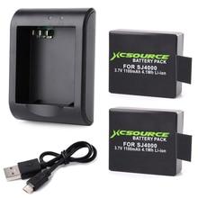 Xcsource micro usb cargador 2×1100 mah batería de litio digital para cámara del deporte sj4000 actiong bc426