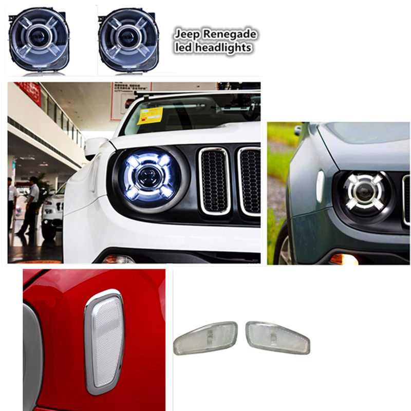 2015 2016 Jeeep Renegade HID LED Headlight with DRL Bi-xenon Projector + Front Side Turn Light Side Signal lamp for Renegade 1pair led side maker lights for jeeep wrangler amber front fender flares parking turn lamp bulb indicator lens