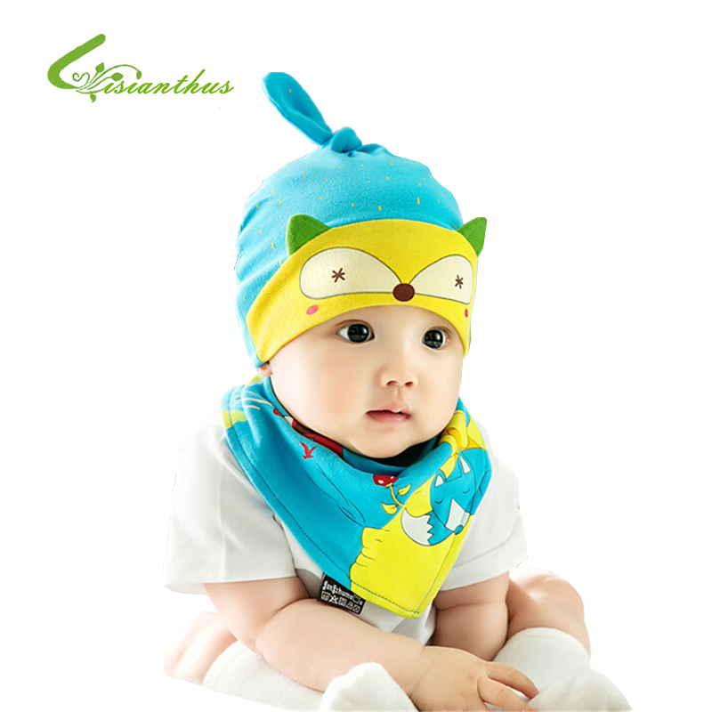 Newborn Baby Girl Boy Kids Bibs Hat Towel Triangle Head Scarf Set Baby Todders 2 Pcs Clothes Set Stripe Soft Cap Triangle Bib