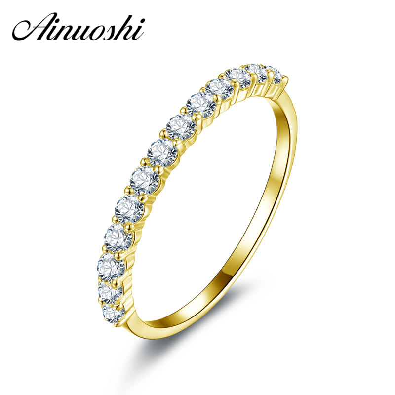 AINUOSHI Trendy 10K Yellow Solid Gold Ring Women Ring Row Drilling Sona Simulated Diamond font b