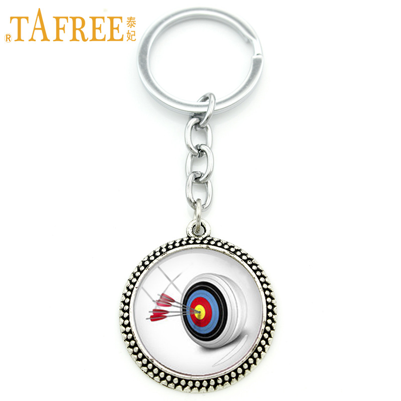 TAFREE 2017 New Cool Sports Archery Key Chain Rings Fashion Darts Art Pendant Keychain Sports Lover Archer Fans Jewelry KC520