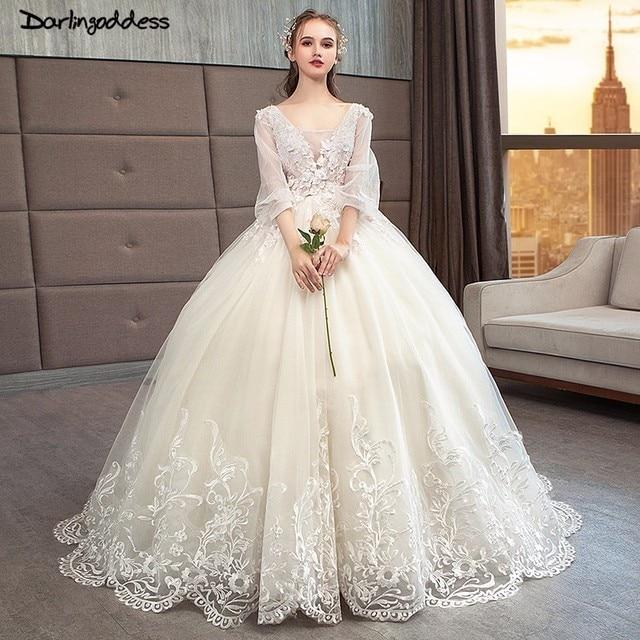 Vestido de Noiva Luxury Long Train Ball Gown Wedding Dresses 2018 Romantic  Long Sleeve Muslim Lace 837cac4ec0ee