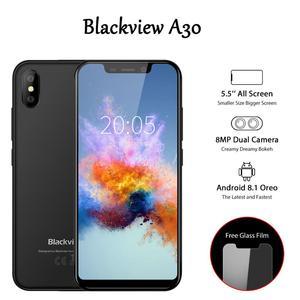 Image 1 - Blackview A30 5.5 pouces Smartphone Quad Core téléphone Mobile 19:9 plein écran 3G téléphone portable MTK6580A Face ID 2GB + 16GB Android 8.1