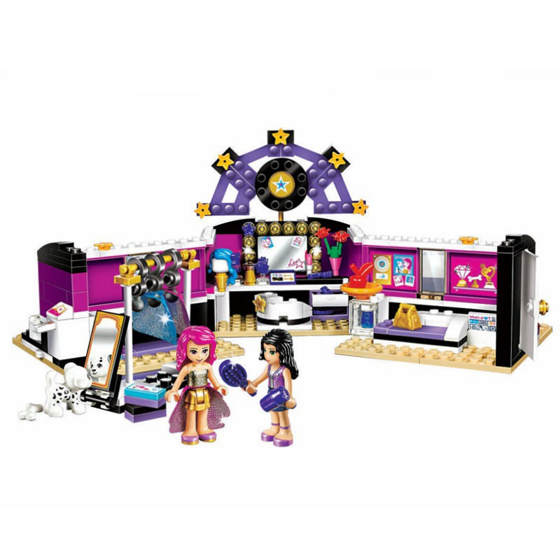 Bela 10404 Friend Gril Pop Star Makeup Artist Dressing Room 282pcs Building Blocks Gift Toys For Kids Emma Figure 41104