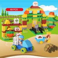 69PCS Happy Farm 3D Blocks Farm Series Building Blocks Sets Animal Model Bricks Toys Educational Toys Hobbies For Xmas Kis Gifts