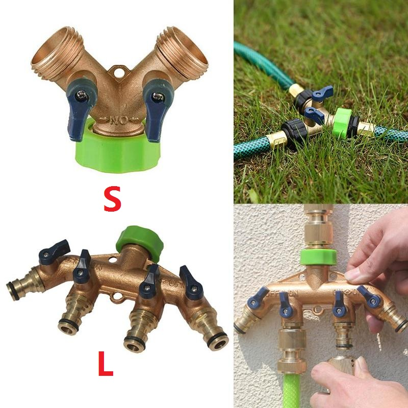 Brass Hose Pipe Splitter 2 Way Quick Connector Adaptor Y Shape Garden Tap Water Diverter For Irrigation With On/off Valve Special Summer Sale Pipe Fittings