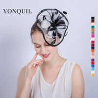 21 Couleurs fleur de plume accessoires Cheveux gris kentucky derby fascinateur casque sur des pinces à cheveux de vacances attrayantes cadeaux SYF164