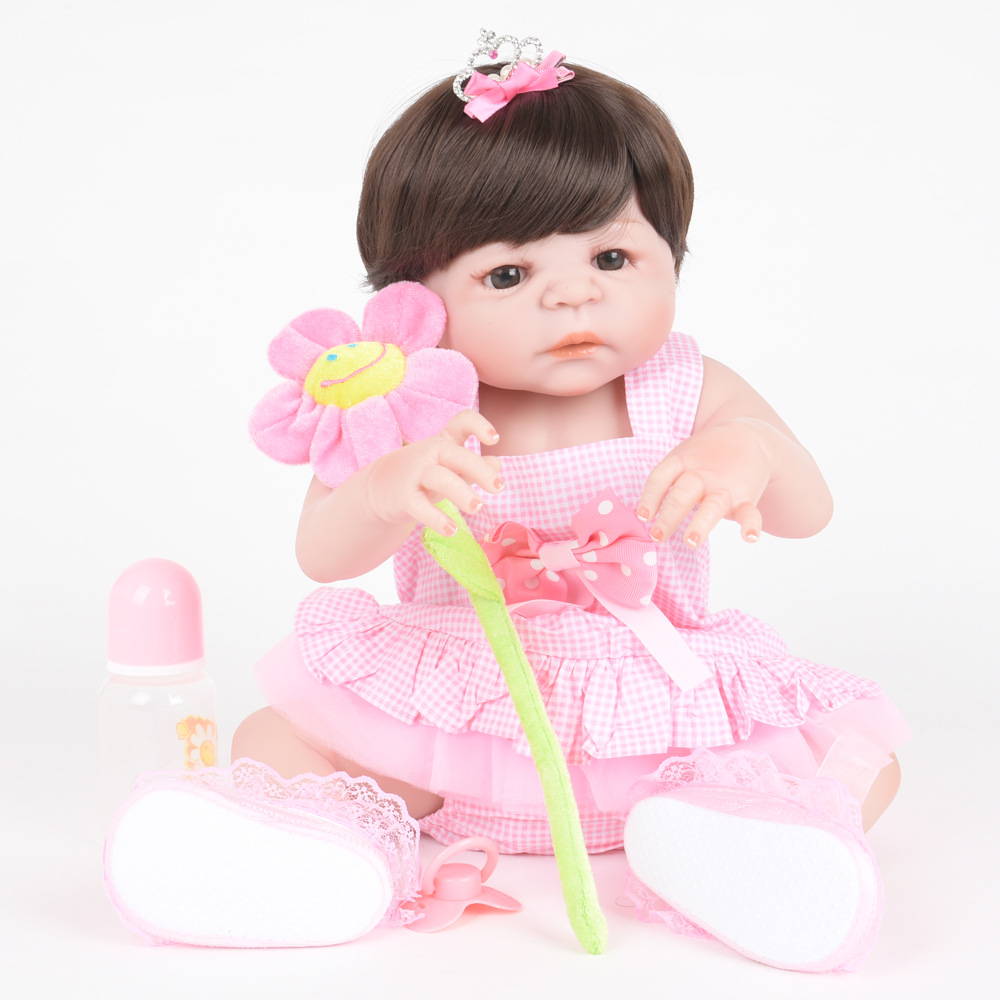 55cm Soft Full Silicone Reborn Baby Newborn Lifelike Princess Girl Dolls for Kids Toy Christmas Birthday Xmas New Year Gift недорого