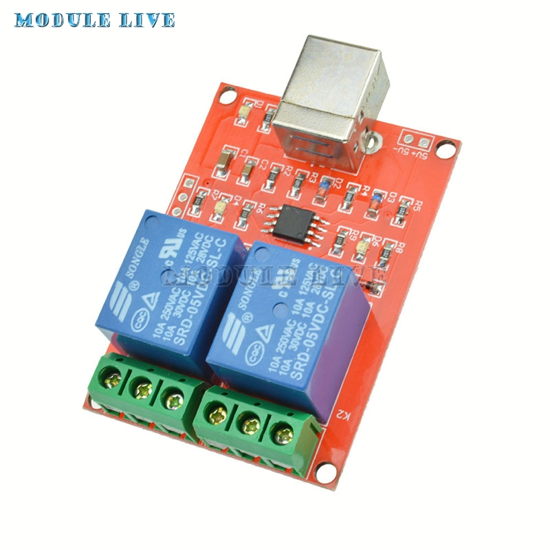 Two Channel 5V Relay Module USB Control Switch / 2 Way 5V Relay Module / Computer Control Switch / PC Intelligent Control 4 channel dc 12v computer usb control switch drive relay module pc intelligent controller 4 way 12v relay module