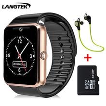 Langtek smart watch gt11 para ios android teléfono de ayuda multi idiomas con cámara bluetooth smart watch podómetro tarjeta sim