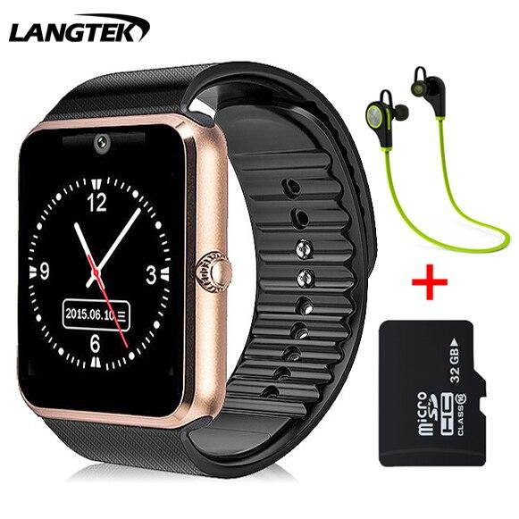 imágenes para Langtek smart watch gt11 para ios android teléfono de ayuda multi idiomas con cámara bluetooth smart watch podómetro tarjeta sim